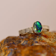 Load image into Gallery viewer, Boulder opal & palladium silver ring