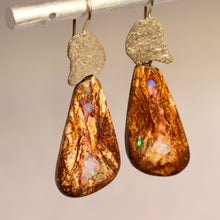 Load image into Gallery viewer, Boulder matrix opal & sterling silver earrings.