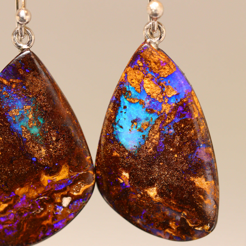 Opalised wood & palladium silver earrings