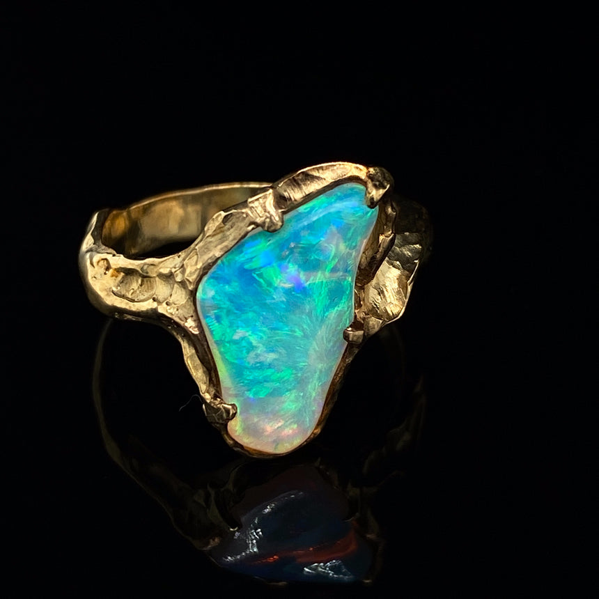 'Molten Gold' x crystal opal ring