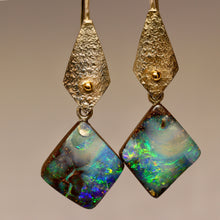Load image into Gallery viewer, Boulder opal 'split', palladium silver & 18ct gold earrings.