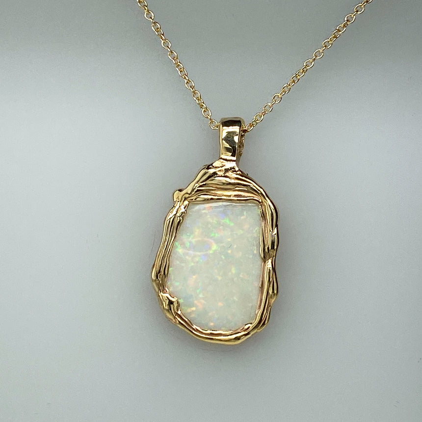 Light opal & Molten gold pendant