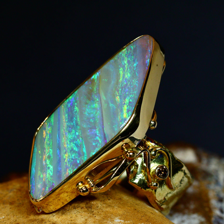 Boulder opal, 18ct gold & diamond ring