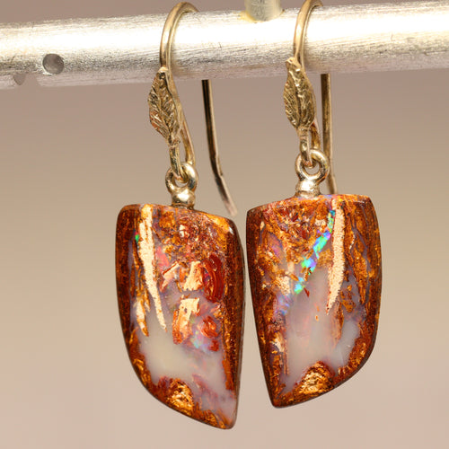 Opalised wood & sterling silver earrings