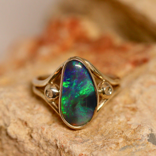 Black crystal opal & palladium silver ring