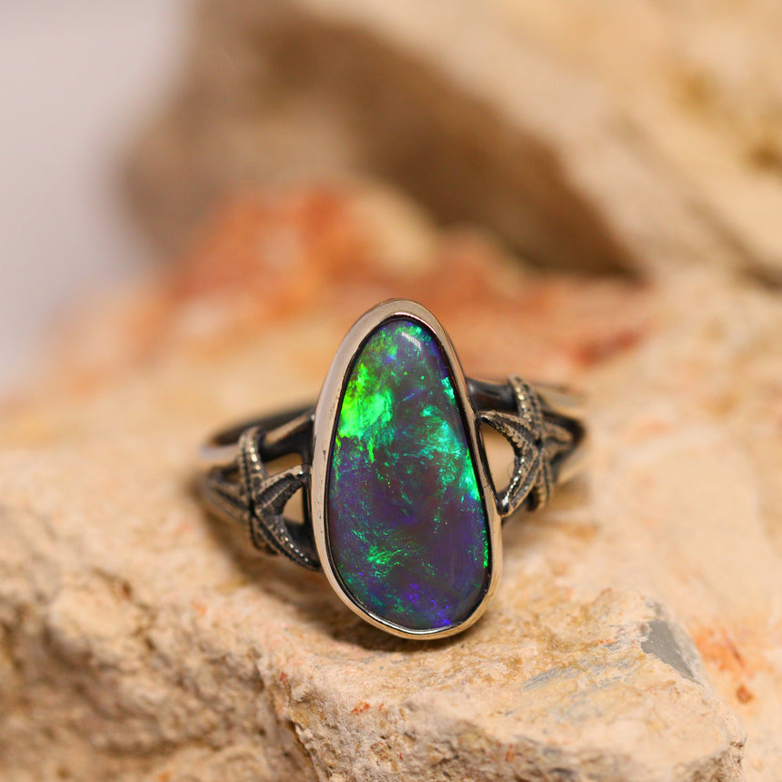 Black crystal opal & oxidised silver ring