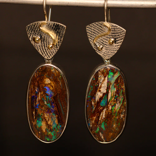 Opalised wood, palladium silver & 18ct gold earrings