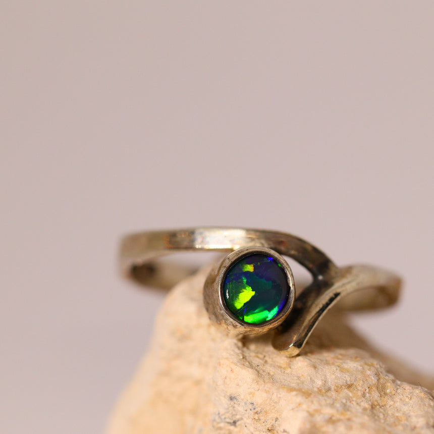 Black opal & sterling silver ring