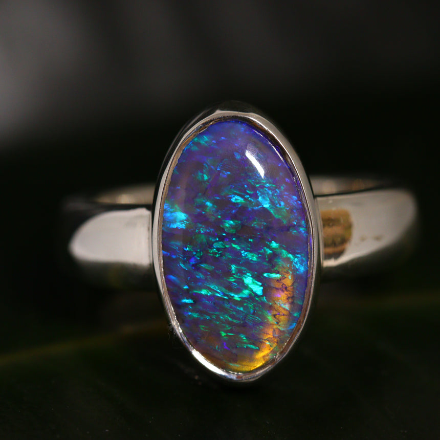 Black Crystal opal & silver ring