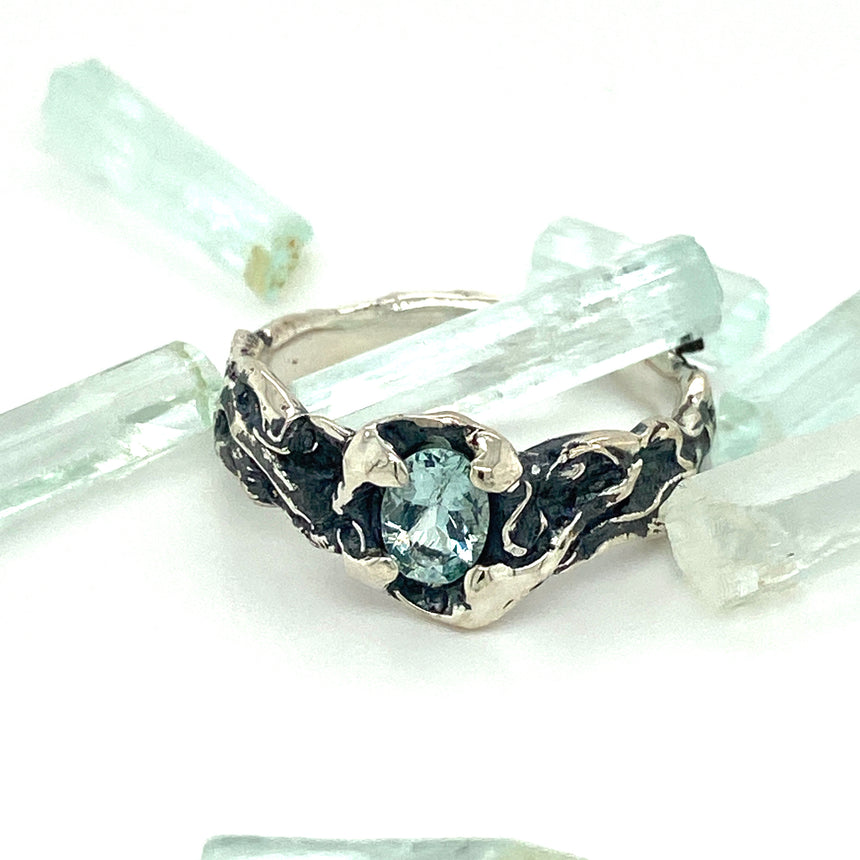 Aquamarine & black silver ring