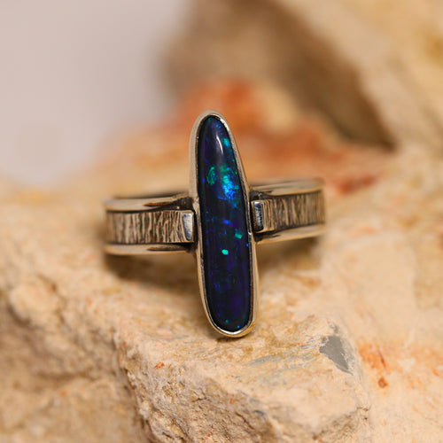 Black opal & palladium silver ring