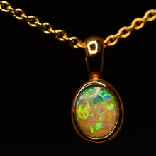 Load image into Gallery viewer, Lightning Ridge opal & rose gold pendant