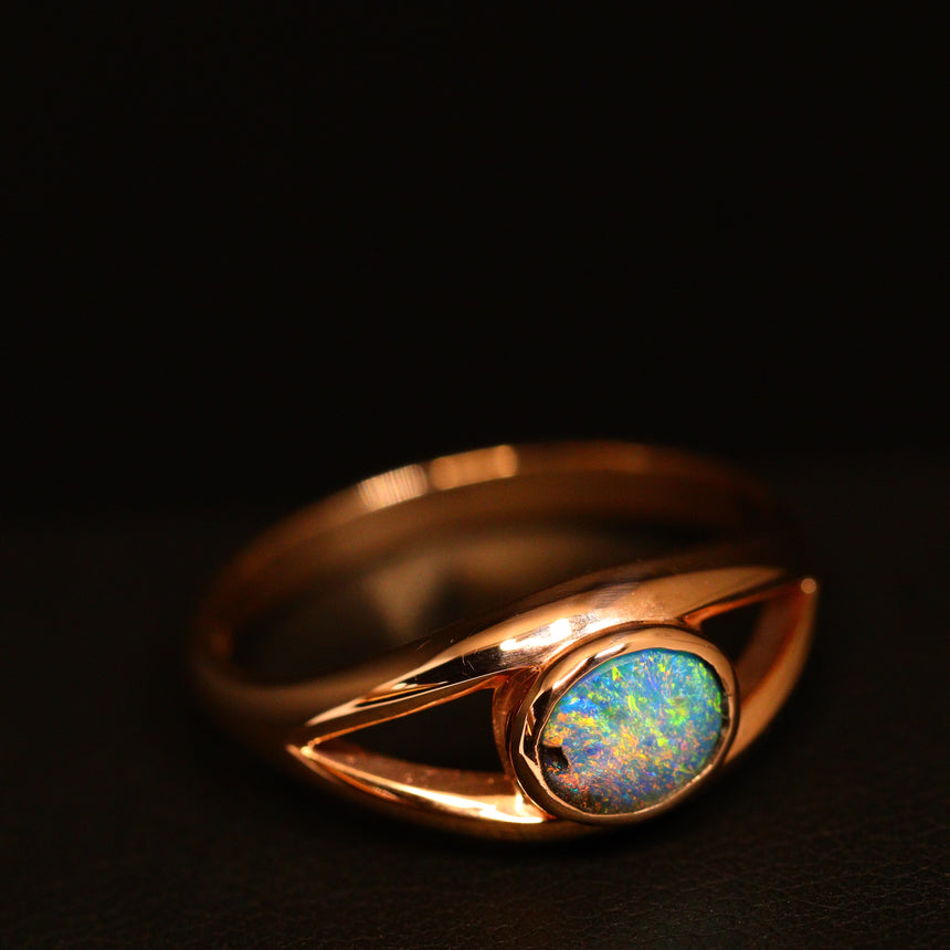 Boulder opal & 14ct rose gold ring