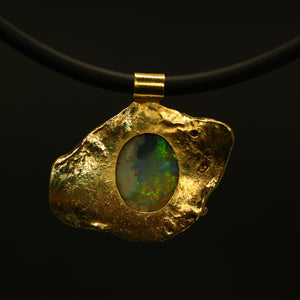 Lightning Ridge crystal opal, 18ct Molten Gold & diamonds