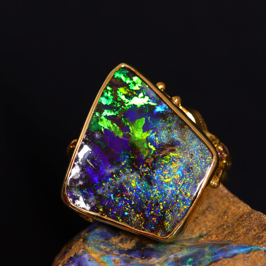 Incredible boulder opal, 18ct gold & diamond ring