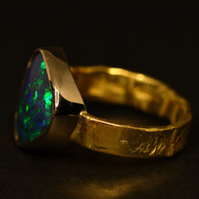 Load image into Gallery viewer, Lightning Ridge black opal, 18ct white & yellow Molten Gold ring