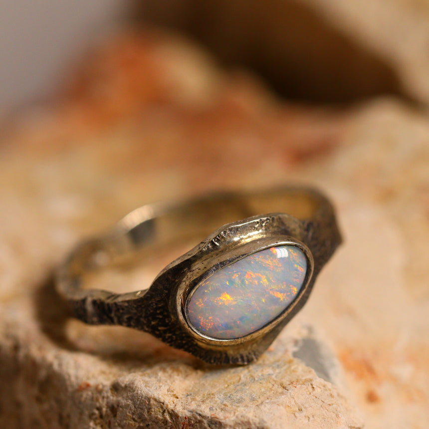Light opal & oxidised silver ring