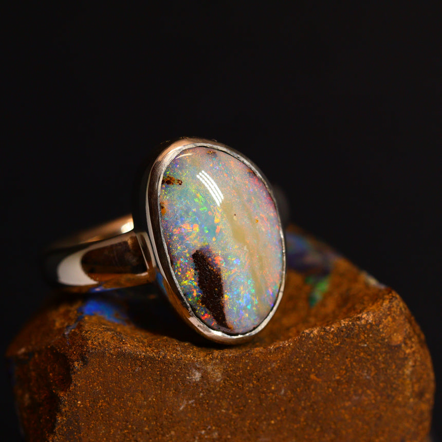 Boulder opal & bright silver ring