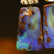 Load image into Gallery viewer, Boulder opal 'split', palladium silver, 18ct gold earrings