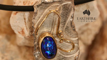Load image into Gallery viewer, 'Silver & Gold' series - Black opal, 9ct yellow gold & sterling silver.