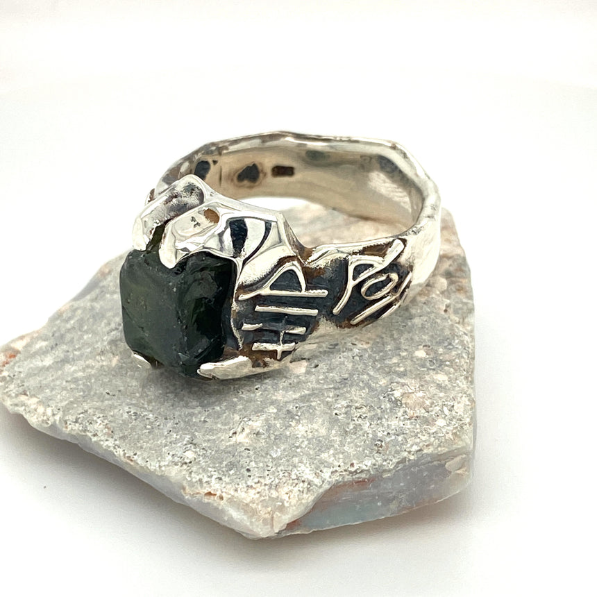 Raw sapphire & silver ring