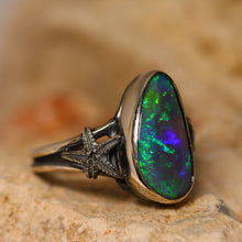 Load image into Gallery viewer, Black crystal opal & oxidised silver ring