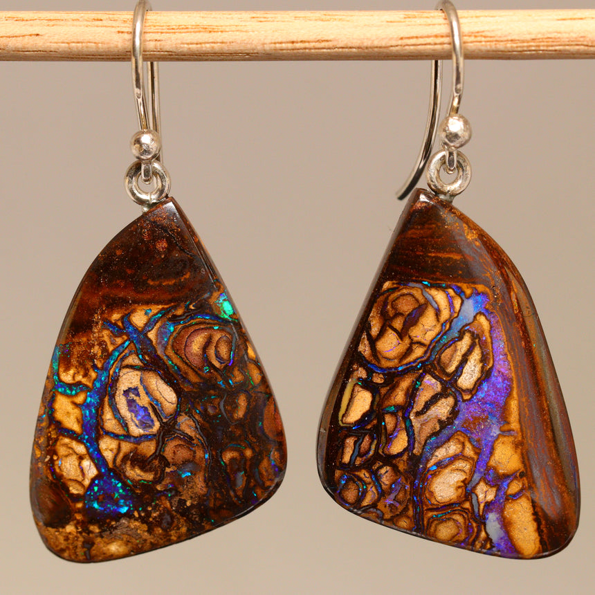 Koroit boulder opal & palladium silver earrings