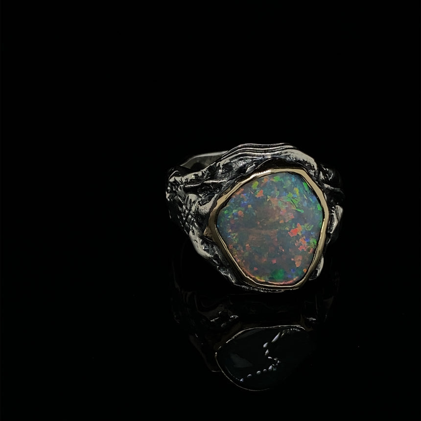 Opal, gold & silver ring