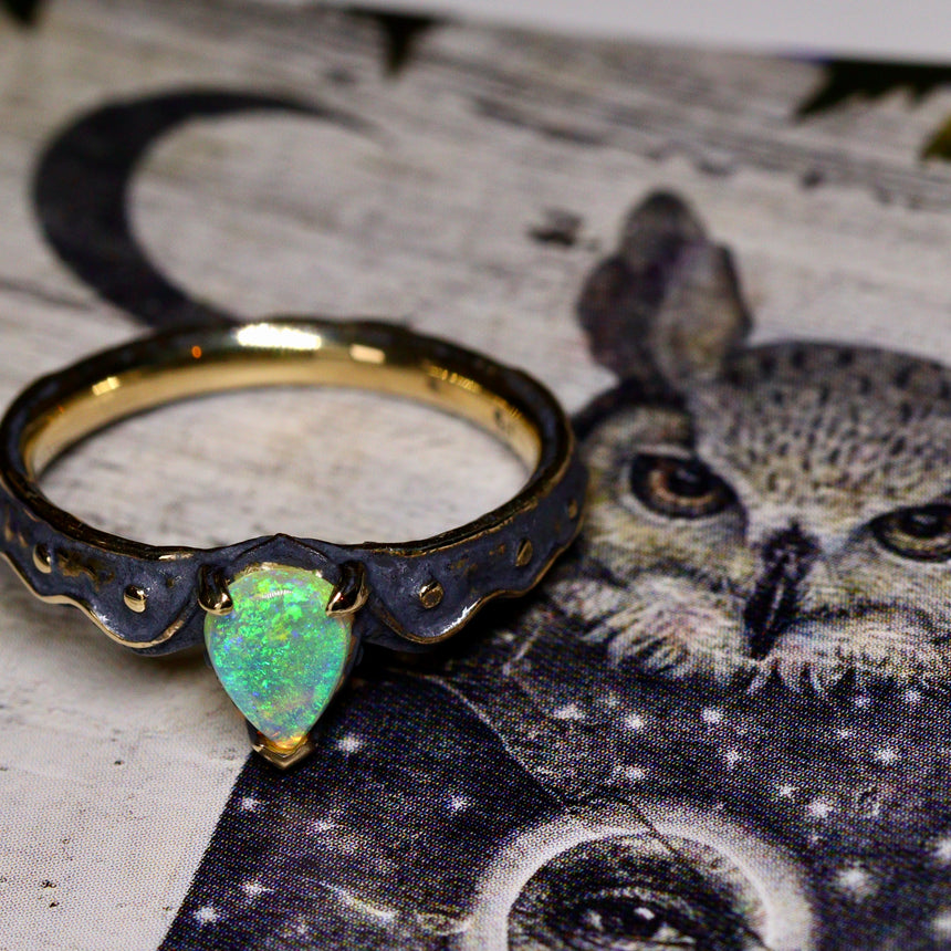 Black gold & opal ring