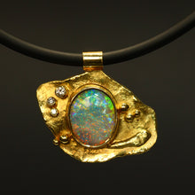 Load image into Gallery viewer, Lightning Ridge crystal opal, 18ct Molten Gold & diamonds