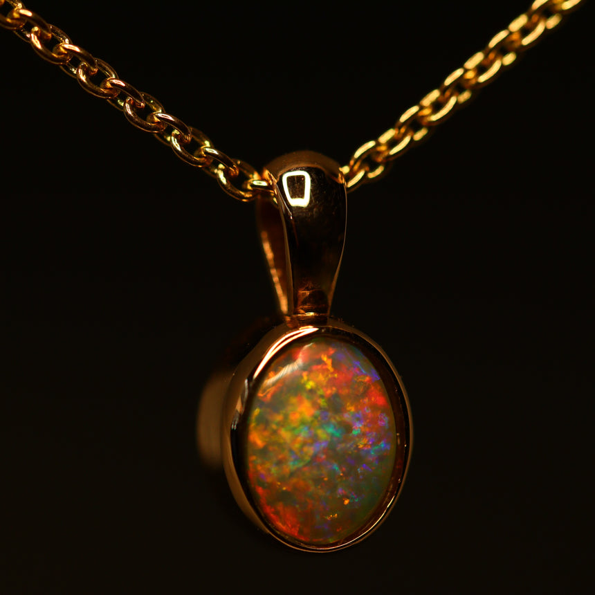 For Randy: Lightning Ridge opal & rose gold pendant