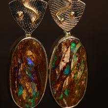 Load image into Gallery viewer, Opalised wood, palladium silver & 18ct gold earrings