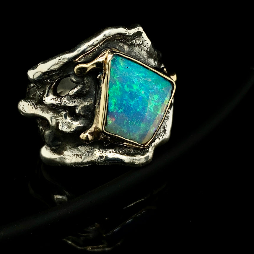 Opal, silver & gold ring