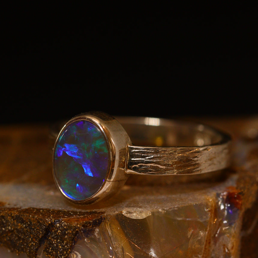 Lightning Ridge opal & palladium silver ring