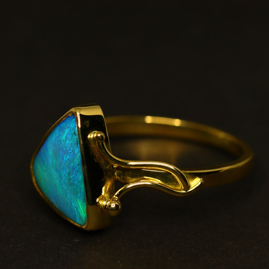 'Ocean stone' boulder opal & 18ct yellow gold ring