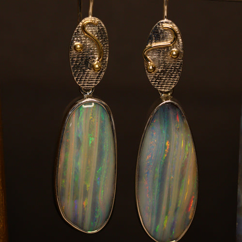 Boulder opal, palladium silver & 18ct gold earrings