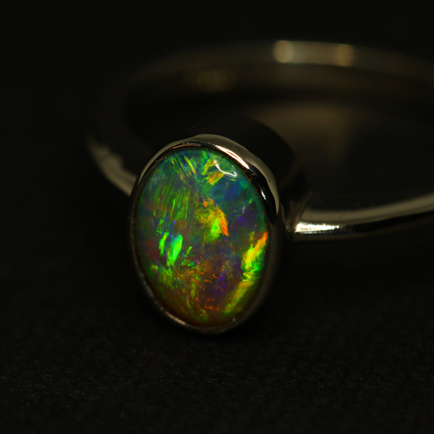 Lightning Ridge black opal & platinum ring