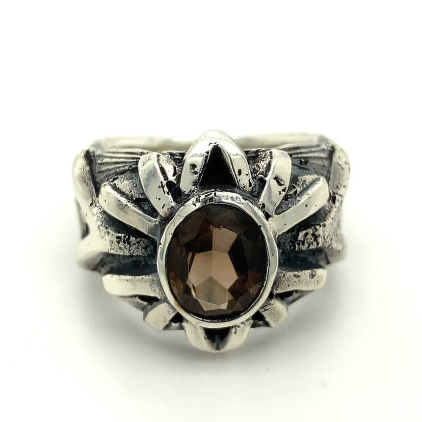 Tasmanian smokey quartz & silver ring