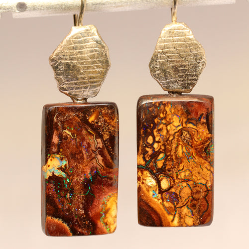 Koroit boulder opal & sterling silver earrings