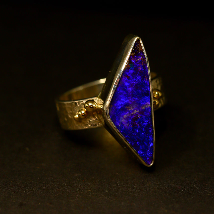 Boulder opal, palladium silver & 18ct gold ring