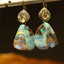 Load image into Gallery viewer, Boulder opal 'split', palladium silver & 18ct gold earrings