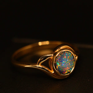 Boulder opal & 14ct yellow gold ring