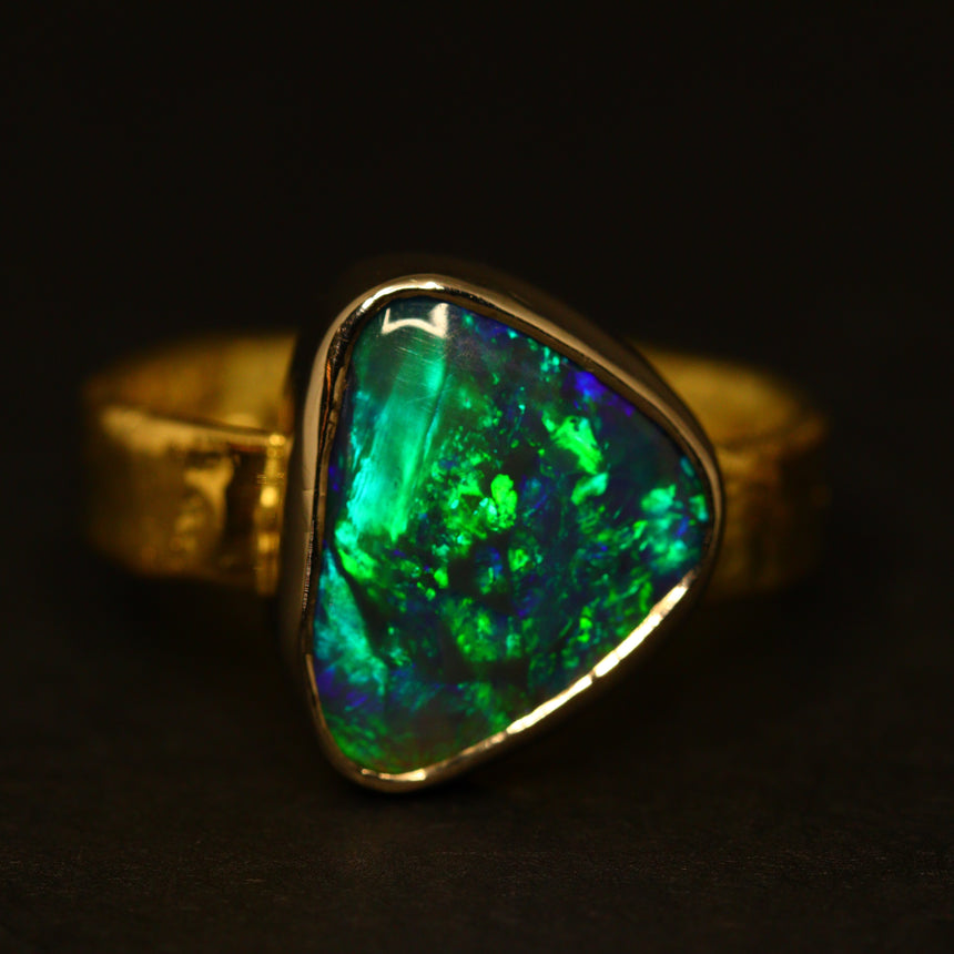 Lightning Ridge black opal, 18ct white & yellow Molten Gold ring