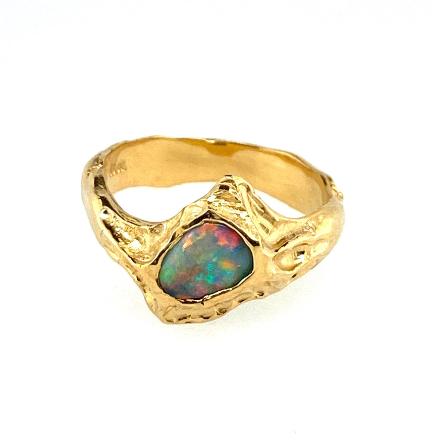 Black opal & 18k Molten Gold ring