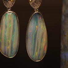 Load image into Gallery viewer, Boulder opal, palladium silver & 18ct gold earrings