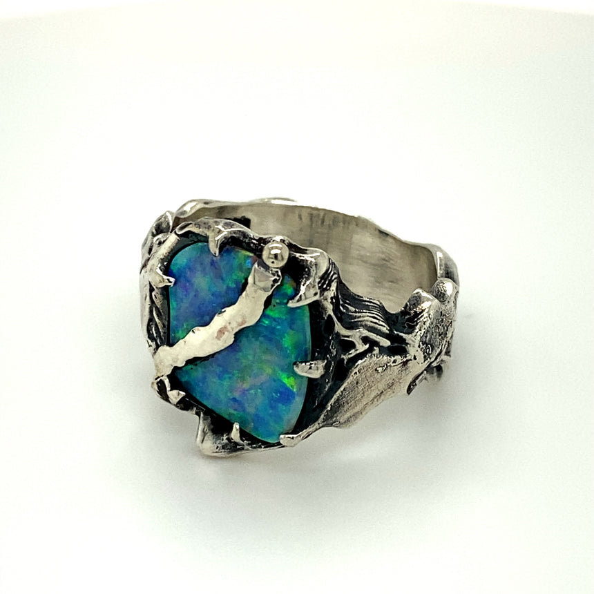Electric ocean opal & silver ring