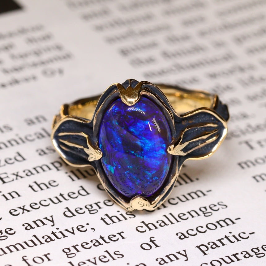 Black gold & black opal ring