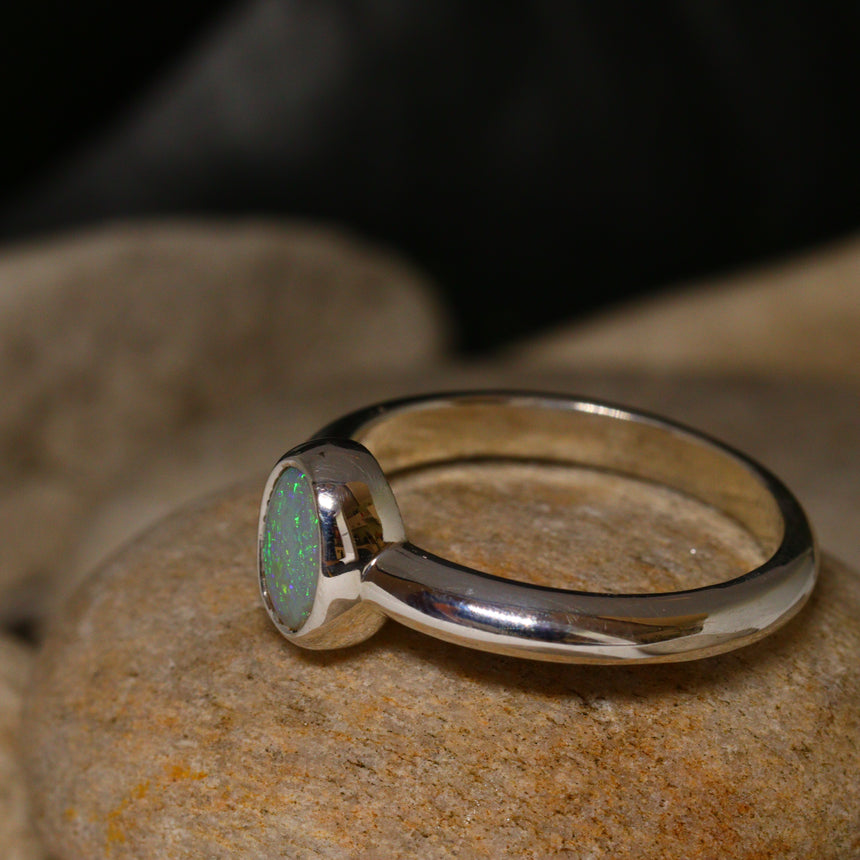 Lightning Ridge opal & silver ring