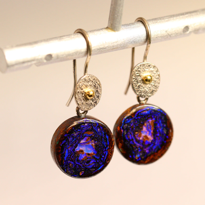 Boulder opal, palladium silver & 18ct gold earrings.