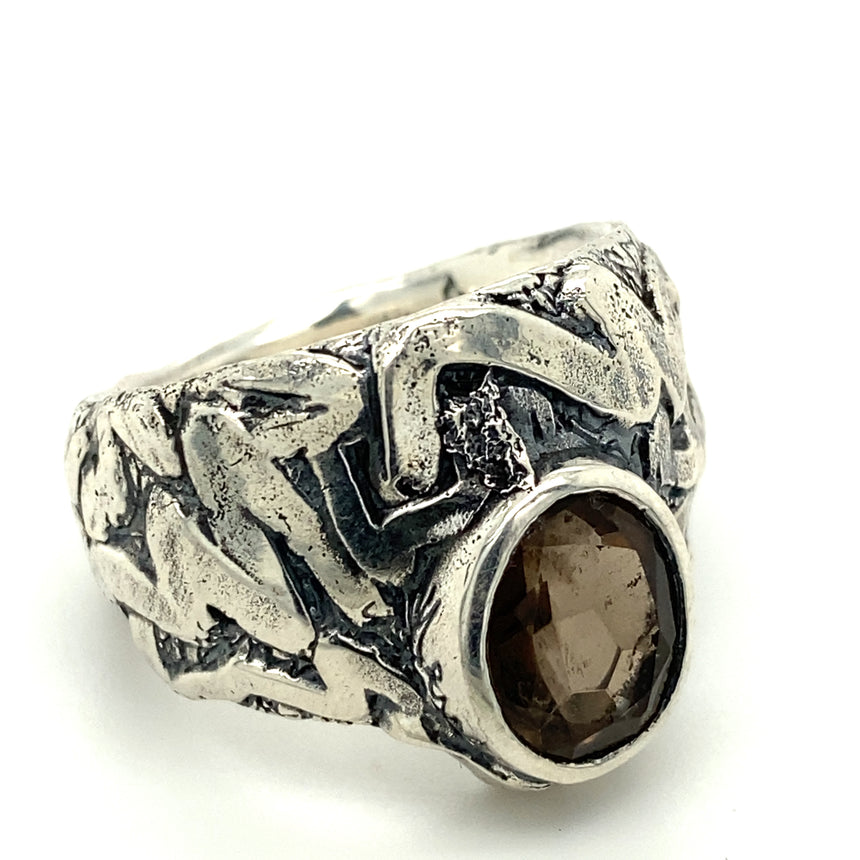 Smokey Quartz & silver ring